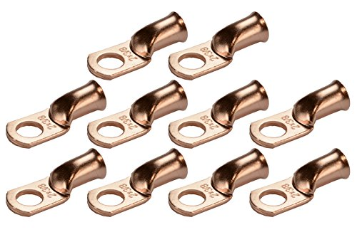 Bare Ring Terminal (TEMCo 10 Lot 2 AWG Ring 3/8