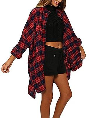 Nagoo Women Long Sleeve Turn-Down Neck Plaid Long Shirt Dress