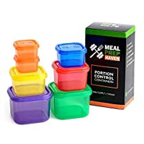 Meal Prep Haven 7 Piece Multi-Colored, Color Coded Portion Control Container Kit with Guide, Leak Proof, BPA Free, 21 Day Planner
