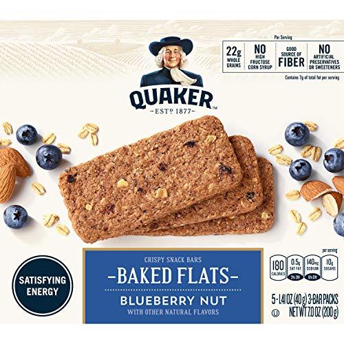 Quaker Breakfast Flats, Blueberry, Breakfast Bars, 5 Packets Per Box (Pack of 8)