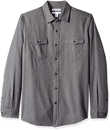 Amazon Essentials Men's Slim-Fit Long-Sleeve Two-Pocket Flannel Shirt