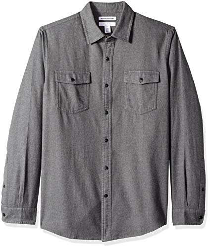 Amazon Essentials Men's Slim-Fit Long-Sleeve Solid Flannel Shirt, Charcoal Heather, XX-Large