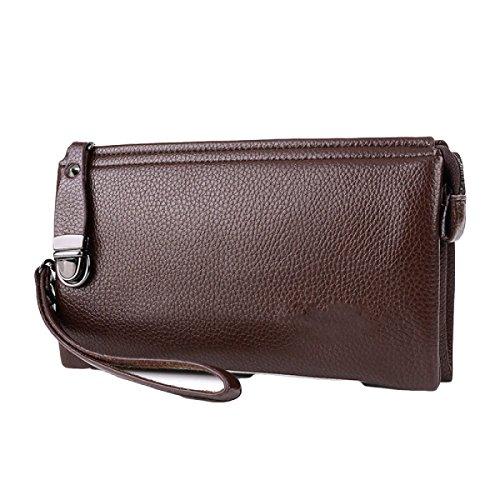 Bolsos Para Hombres Cerraduras De Gran Capacidad Cartera Clips De Cuero Genuino Paquete De Teléfonos Móviles Ambiente De Ocio Brown1