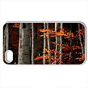 Red forest - Case Cover for iPhone 4 and 4s (Forests Series, Watercolor style, White)