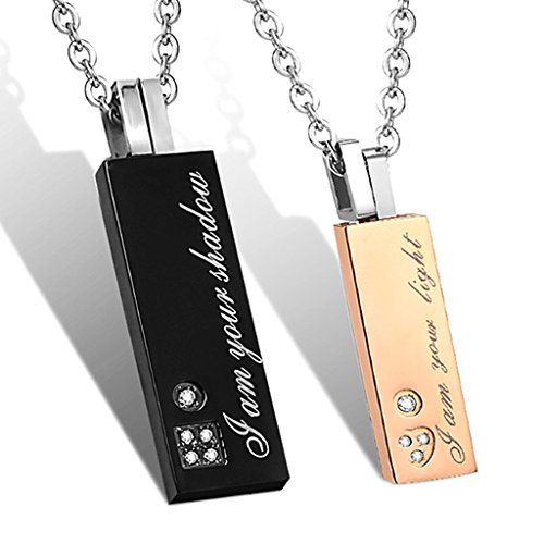 - Couples Necklace with Rectangle Titanium Stainless Steel Pendant,His & Hers Matching Set Lovers Gift (I Am Your Light&I Am Your Shadow)