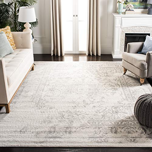 Safavieh Adirondack Collection ADR101B Ivory and Silver Oriental Vintage Distressed Square Area Rug (10' Square) 10 Square Oriental Rug