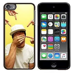 Señalando Ojos cerrados Arte- Metal de aluminio y de plástico duro Caja del teléfono - Negro - iPod Touch 6