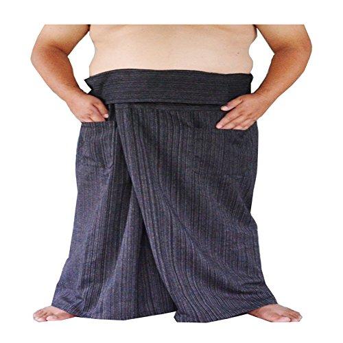 Miss Bangkok Extra Big and Long Thai Fisherman Pants Yoga Trousers Free Size Plus Size 100% Striped Cotton Black Waist 77