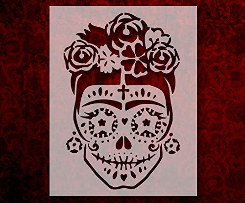 Day Of The Dead Dia De Muertos Sugar Skull Woman Flowers 8.5