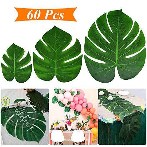 (Tropical Palm Leaves 60 Pcs Tropical Party Decoration Monstera Leaf Table Decor Imitation Leaf Perfect For Photo Props Home Birthday Beach Aloha Luau Safari Tropical Party Supplies)