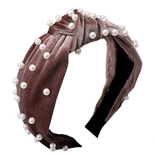 lightclub Vintage Twisted Faux Pearl Tie Beading Women Wide Hair Hoop Velvet Headband Headwear Hairband Cameo Brown