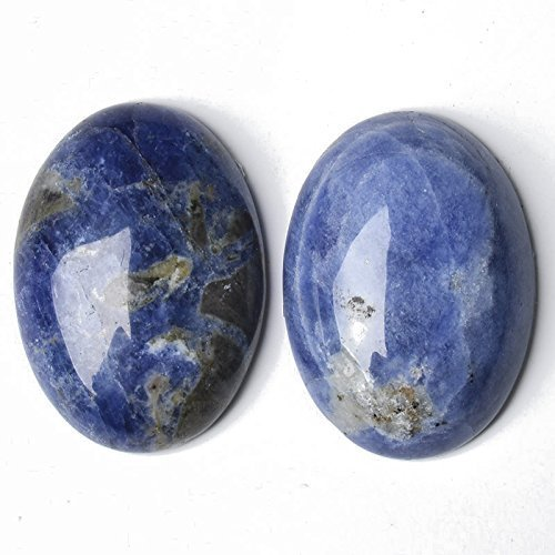 1 x Blue Sodalite 30 x 40mm Oval-Shaped Flat-Backed Cabochon - (CA16649-8) - Charming Beads