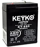 KEYKO Genuine KT-660 6V 6Ah REAL 6.0 Amp Higest Capacity Replace 4Ah and 4.5Ah Battery SLA / AGM - F1 Terminal