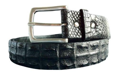 Joy-nin Genuine Matte Black Crocodile Double Hornback Rocker Mens Belt Size (Hornback Crocodile Belt)