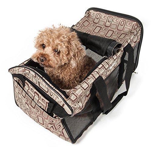 PET LIFE Airline Approved Ultra-Comfort Designer Collapsible Travel Fashion Pet Dog Carrier, Medium, Plaid Design (Pet Plaid Carrier)