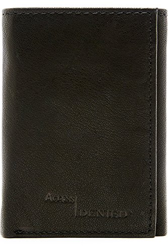 Genuine Leather Wallet Mens Trifold RFID Blocking, Smooth Black by Access Denied (Black Wallet Leather)