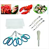 CS CREATIVE STARTU Seafood tools set 8 (Lobster scissors 3PC,Crab Spoon & fork 3PC,Oysters Knife 1 PC) (8)