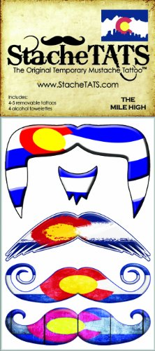 StacheTATS The Mile High Temporary Mustache Tattoo