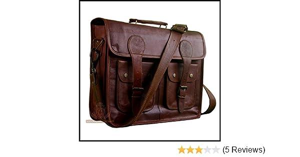 2dcf708d2082 Natural Handicraft Laptop Messenger Office Bag Vintage Goat Leather Travel  Office Laptop Cross-body Shoulder Bag Office Bag College Bag 20 Inch