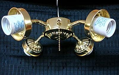 Ceiling Fan Light Kit 4 Four Arm Polished Brass Pull Chain Fixture Pb Lighting