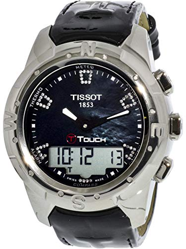 (Tissot Women's T047.220.46.126.00 Black Mother-Of-Pearl Diamonds Index Dial Watch)