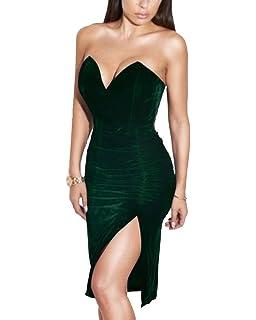 bc6f276c79c Joyfunear Women s Sexy Strapless Ruched Velvet Split Bodycon Midi Dress