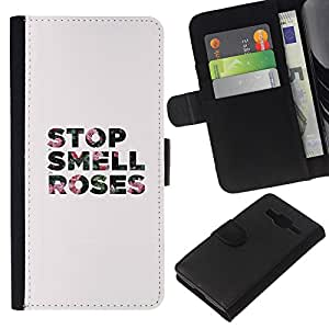 KLONGSHOP // Tirón de la caja Cartera de cuero con ranuras para tarjetas - rosas parada olor gris minimalista texto - Samsung Galaxy Core Prime //