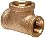Anderson Metals Brass Threaded Pipe Fitting, Reducing Tee, 1/2