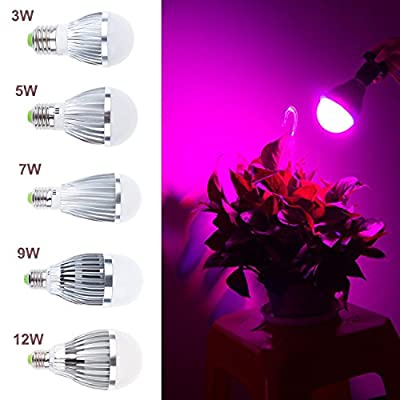 LED Plant Grow Light bulb High Efficient large area E27 Growing Bulbs for Garden Greenhouse and Hydroponic Aquatic Plants Light Full Spectrum Growing Lamps GTaipe