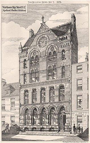 Warehouse, Ray Street, EC. ; Rowland Plumbe F. R. B. A. , Archt. Clerkenwell - 1875 - old print - antique print - vintage print - London art prints