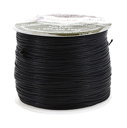Mandala Crafts 0.5mm 109 Yards Jewelry Making Crafting Beading Macramé Waxed Cotton Cord Thread (Black) (Wax Leather Cord)