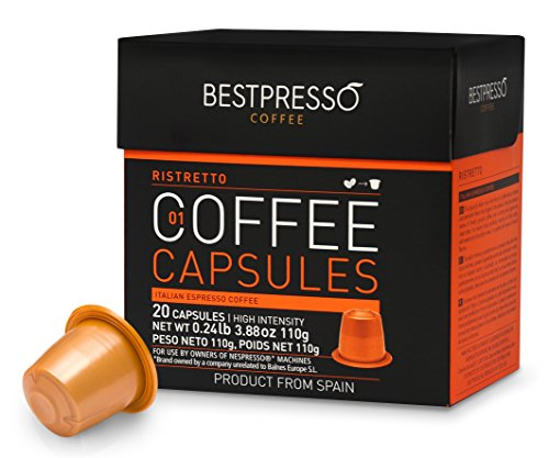 Nespresso Compatible Gourmet Coffee Capsules-120 Pod Ristretto Blend(High Intensity) - for Original Line Nespresso Machine -Bestpresso Brand -Certified Genuine Espresso-60 Days Satisfaction Guarantee