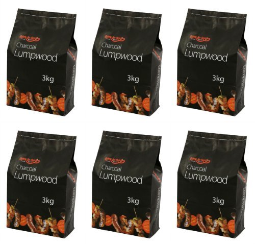 Holland Plastics Original Brand 6 X Bar Be Quick Lumpwood Charcoal Great For Everyday Barbecues 3Kg