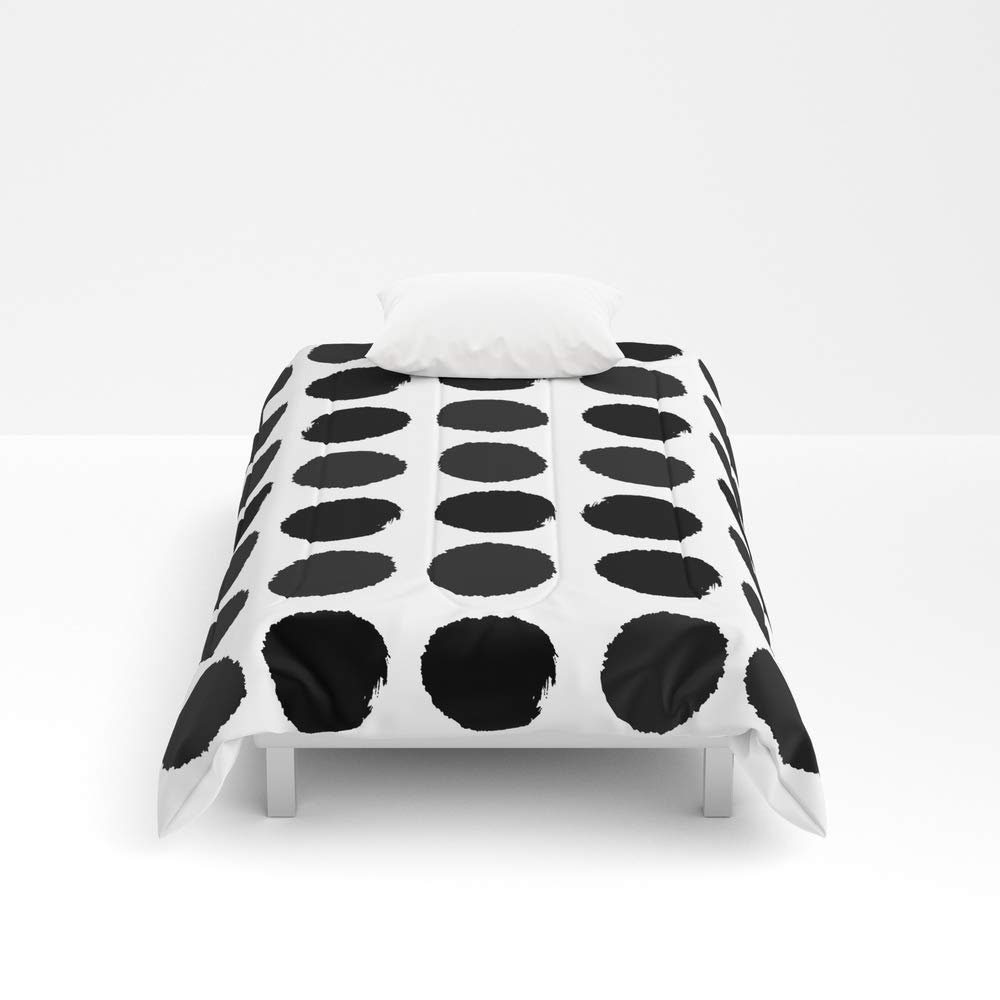 Society6 Comforter, Size Twin XL: 68'' x 92'', Black and White Minimal Paint Brush Painterly dots Polka dots Minimal Modern Dorm College Painting by charlottewinter