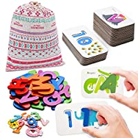 Numbers and Alphabets Flash Cards Toddlers ABC Wooden Jigsaw Puzzle Letters Preschool Kindergarten Educational Matching Game Montessori Toys Gift for Kids Toddlers Age 3 4 5 6 7 8