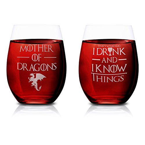 That's What I Do I Drink And I Know Things & Mother of Dragons, Set of 2, Stemless Wine Glasses 15oz. by FOLE, Hand Etched, Sandblasted, Permanently Engraved, Made in USA, Makes for Perfect Gift (Gift Drinks Engraved)