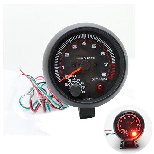 (discoGoods 12V 3.75'' Universal Car Gauge Tacho Tachometer Counter Gauge Tachometer Red LED RPM Shift Light 4/6/8 CYL)