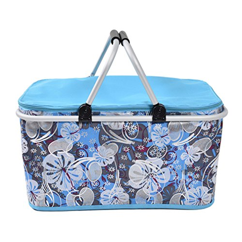 XMCOWAYOU Foldable Cooler Insulated Picnic Basket for Camping, Hiking, Climbing Light blue