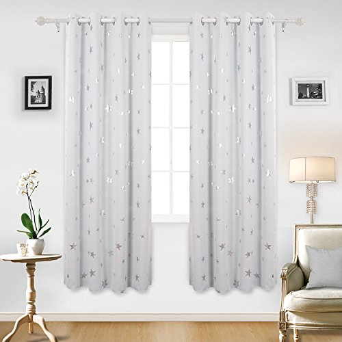 White Thermal Print (Deconovo Room Darkening Thermal Insulated Blackout Grommet Window Curtains with Silver Star Print for Living Room Greyish White W52 x L84 Inch 1 Pair)