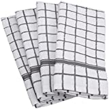 DII Cotton Terry Windowpane Dish Towels, 16 x 26'' Set of 4, Machine Washable and Ultra Absorbent Kitchen Bar Towels-Gray