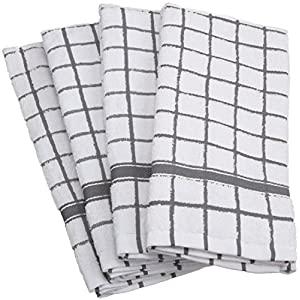 """DII Cotton Terry Windowpane Dish Towels, 16 x 26"""" Set of 4, Machine Washable and Ultra Absorbent Kitchen Bar Towels-Gray"""