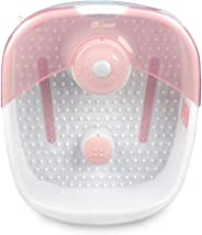 Foot Bath with Heat Maintenance | Foot Massager with Bubbles | At Home Portable Pedicure Foot Soak | Pink (Heat Maintenance)
