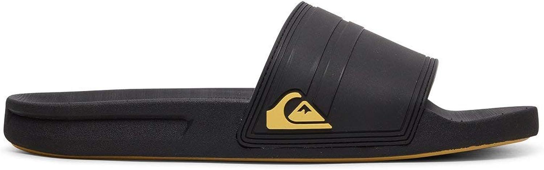 Quiksilver Rivi Slide Flip Flops UK Black//Black//Yellow