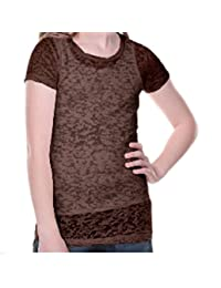 Kavio Girls Short Sleeve Lightweight Burnout Tee with Longer Length in Sizes 7 to 16