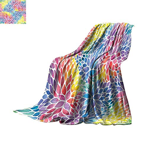 Lightweight Blanket Rainbow Floral Decor,Colorful Petals Abstract Flowers Pattern Watercolor Effect Print Artsy Design,Purple Red Blue Yellow Pink Print Summer Quilt Comforter Bed or Couch 70