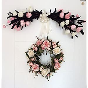 Handmade Wreath Simulation Flower Door Trim Wedding/Party/Home Decoration Artificial Rose Garland Hanging Door Wreath 15