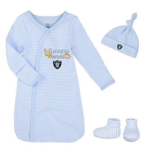 NFL Newborn Gown, Hat And Bootie Set, Oakland Raiders, Blue, 1 Size
