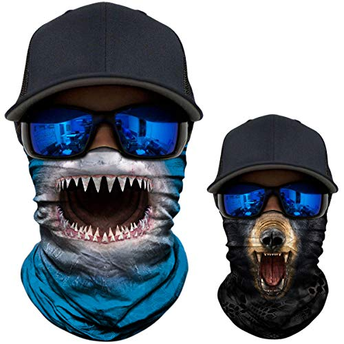 2 Pack - 3D Animal Neck Gaiter Scarf Bandana Face Mask Seamless UV Protection for Motorcycle Cycling Riding Running Fishing Hiking Conoeing Shark and Black Bear -