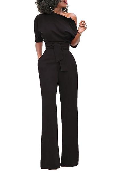 a4cfd9af9ef9 emmarcon Tuta Elegante Pantaloni Lungo Jumpsuit Vestito Abito Cerimonia da  Donna  Amazon.it  Abbigliamento
