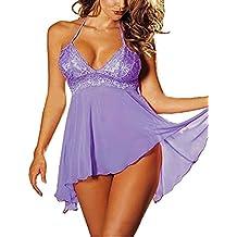 Twinsmall Sexy Lingerie Sleepwear Women Sling Halter Lace Lingerie Dress Underwear 2 Pcs Plus Size